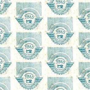 Blue and white Soviet Sewing Machine