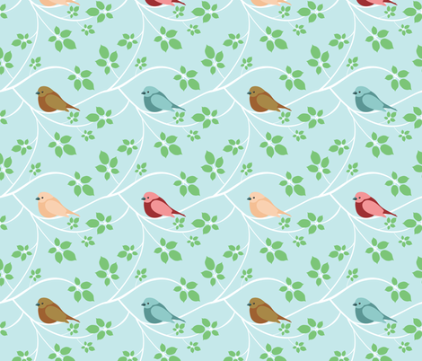 (Medium) White Branches and Birds fabric by greencouchstudio on Spoonflower - custom fabric