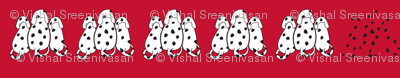 A row of Dalmatians in red