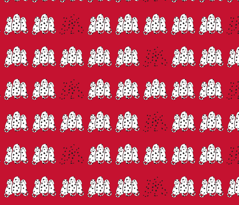 A row of Dalmatians in red  fabric by vishalart on Spoonflower - custom fabric