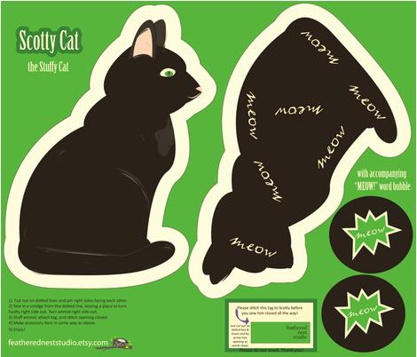 Scotty Cat Stuffy fabric by featheredneststudio on Spoonflower - custom fabric