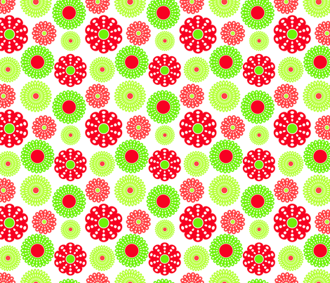 Red and green flowers fabric by suziedesign on Spoonflower - custom fabric