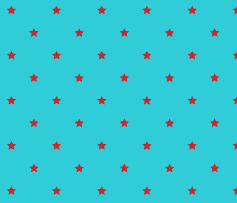 Stars in turquoise_red fabric by yvonne_herbst on Spoonflower - custom fabric