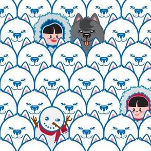 Eskimos hide 'N go seek dogs : Blue
