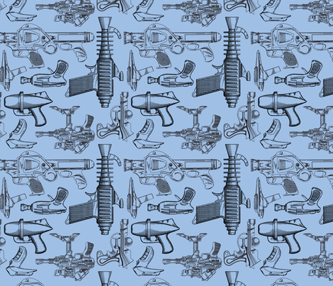 Ray Gun Revival (Blue) fabric by studiofibonacci on Spoonflower - custom fabric