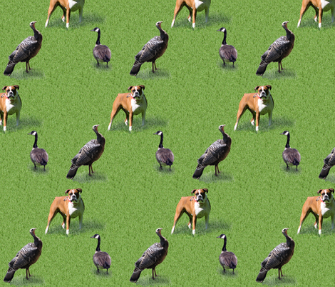 Dogs turkeys & geese on grass fabric by mina on Spoonflower - custom fabric