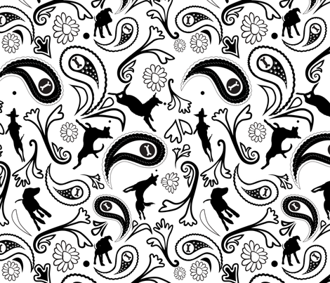 Paisley Dog Black and White fabric by richardrainbolt on Spoonflower - custom fabric