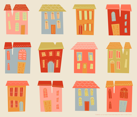 Houses fabric by stephdevino on Spoonflower - custom fabric