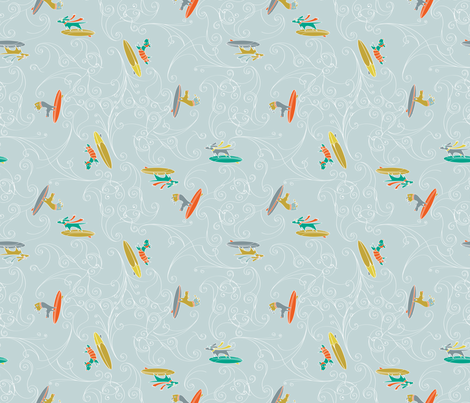 Hang 10: Surfer Dogs fabric by lucindawei on Spoonflower - custom fabric