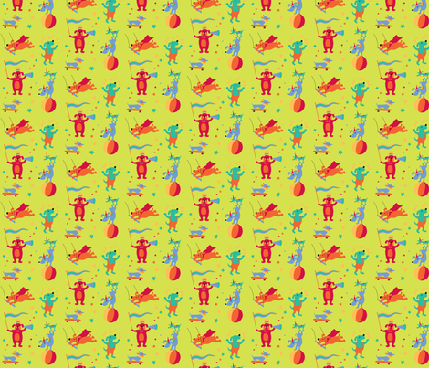 CircusDog- LIME GREEN fabric by happysewlucky on Spoonflower - custom fabric