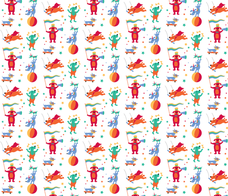 CircusDogs - LARGE fabric by happysewlucky on Spoonflower - custom fabric