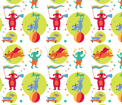 CircusDogs-SPOTS fabric by happysewlucky on Spoonflower - custom fabric