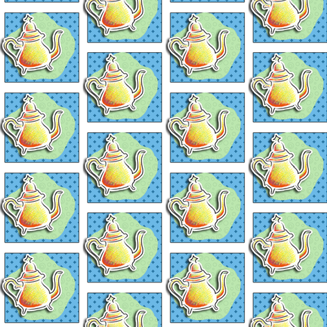 Jumping Teapot fabric by miraculousmosquito on Spoonflower - custom fabric