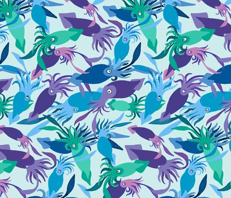 Squid-IceShallows-Sea fabric by natashad on Spoonflower - custom fabric