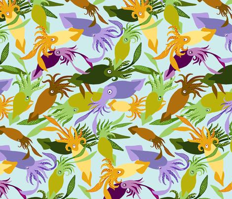 Squid-Shallows-Sea fabric by natashad on Spoonflower - custom fabric