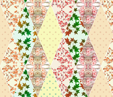 Plum Blossom, Maple and Gingko under the Stars fabric by haleystudio on Spoonflower - custom fabric