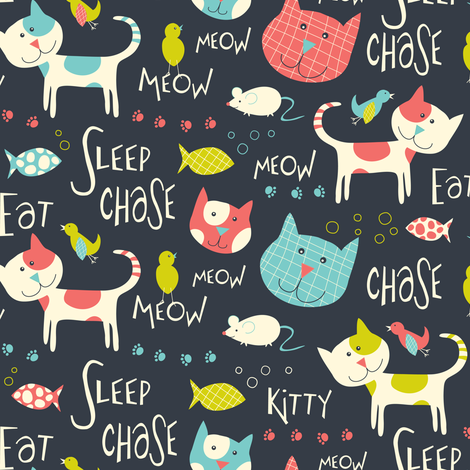 Here Kitty Kitty - Whimsical Cats & Typography  fabric by heatherdutton on Spoonflower - custom fabric