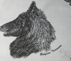 Belgian Tervuren sketch - black/white