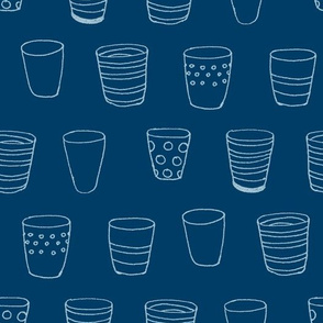Design Crafty Blue Cups fabric