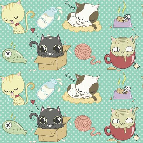 Cats! fabric by yukittenme on Spoonflower - custom fabric