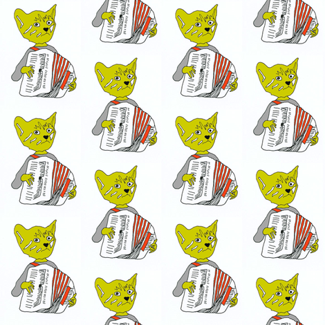 Francois the Accordion Playing Cat- (orange accordion) fabric by j_watty on Spoonflower - custom fabric