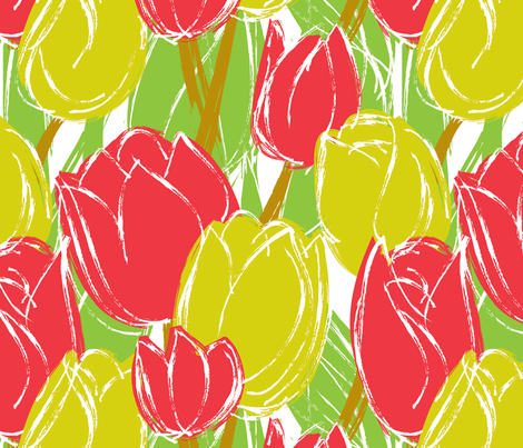 Red and Yellow Tulips fabric by jaana on Spoonflower - custom fabric