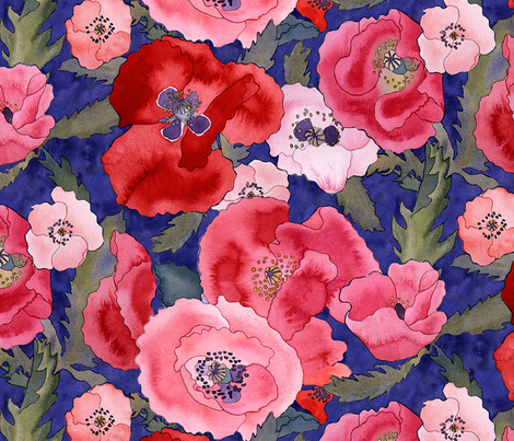 Poppies fabric by erinwilliams on Spoonflower - custom fabric