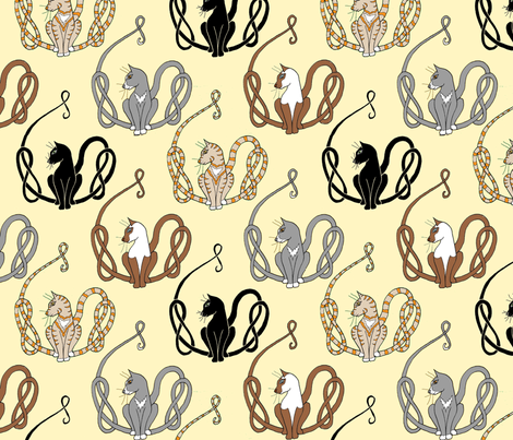 knot tail cats on cream fabric by ingridthecrafty on Spoonflower - custom fabric