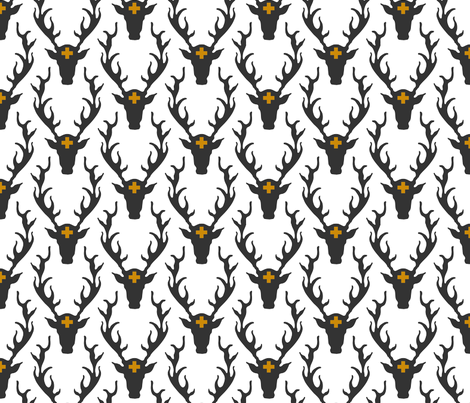 deer head grey fabric by holli_zollinger on Spoonflower - custom fabric