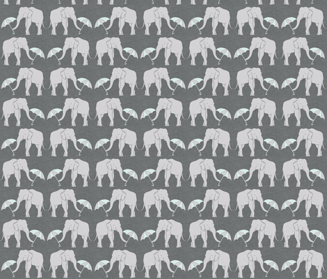 elephant and umbrella mint fabric by holli_zollinger on Spoonflower - custom fabric