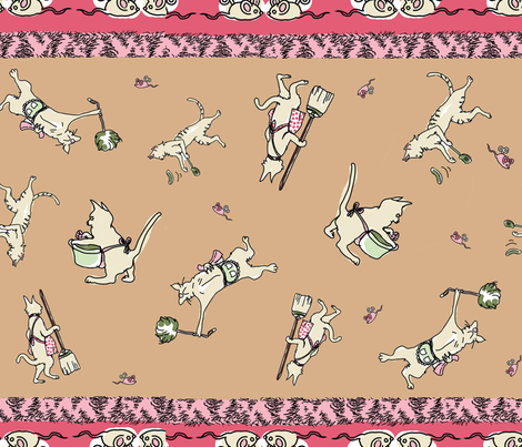 Domestic_Cats_by_Mittie fabric by mcuetara on Spoonflower - custom fabric