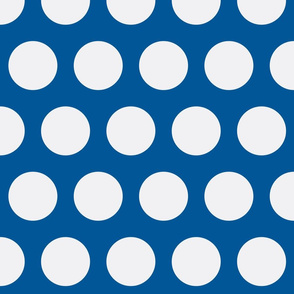 Big White Polka Dots on Blue