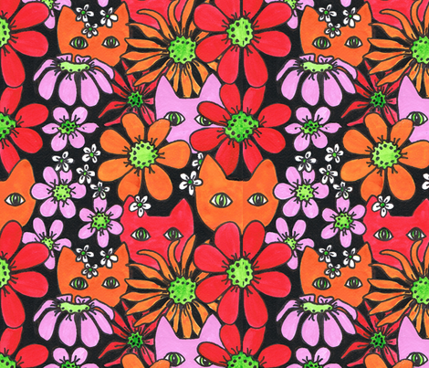 CatsNdaisies_Org_Red fabric by joycemj on Spoonflower - custom fabric