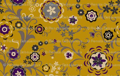 Modern Folk Flowers Major - Mustard