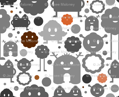 Monsters On the Loose - Grey, Brown and Orange