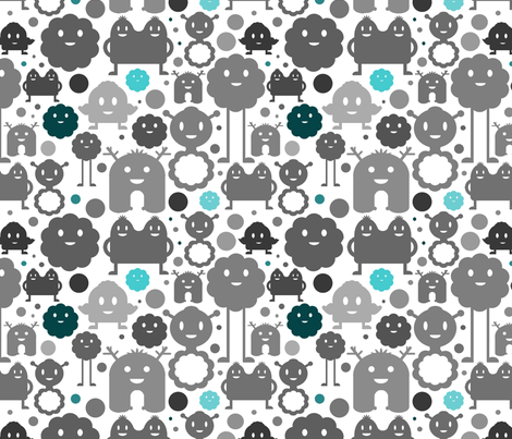 Monsters On the Loose - Greys and Blues fabric by jesseesuem on Spoonflower - custom fabric