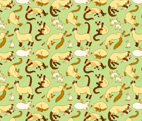 Siamese Cats & Kittens fabric by natashad on Spoonflower - custom fabric