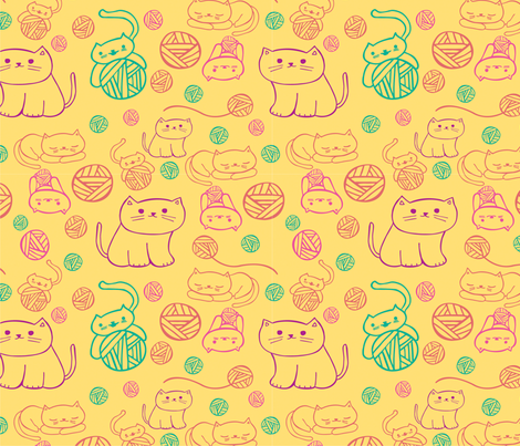 cute cats  fabric by elylu on Spoonflower - custom fabric