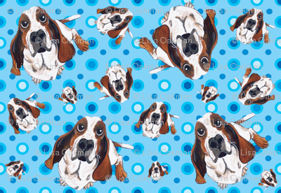 Basset Hound in Blue