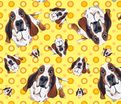 Basset Hound in Yellow fabric by asilo on Spoonflower - custom fabric
