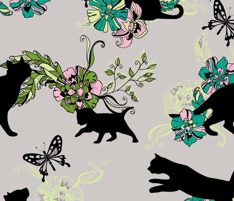crafty cats butterfly chase! fabric by uzumakijo on Spoonflower - custom fabric