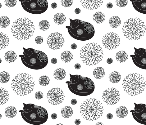 Cats in Bloom fabric by lellobird on Spoonflower - custom fabric