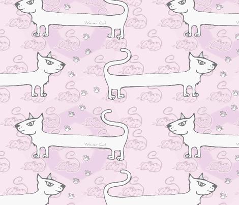 Weiner cat pink  fabric by puncezilla on Spoonflower - custom fabric