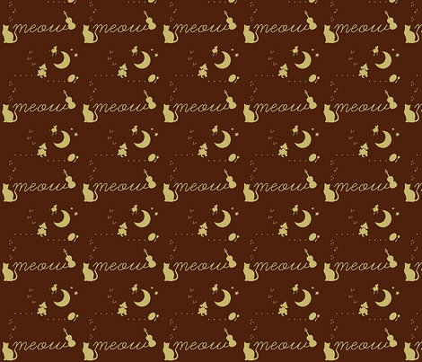 Hey Diddle Meow Cat fabric by cosebelle8 on Spoonflower - custom fabric