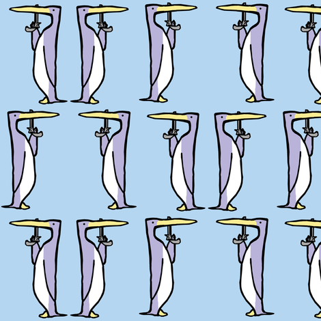 Dueling Penguins: Ice fabric by pond_ripple on Spoonflower - custom fabric
