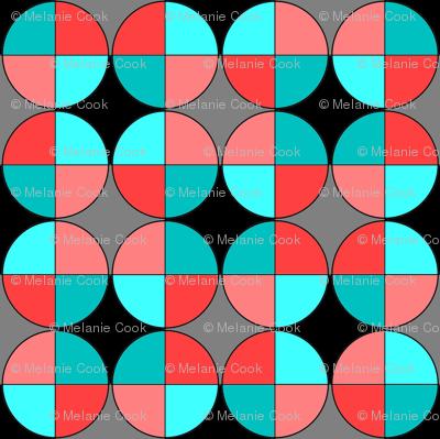 Quarters, in red and aqua
