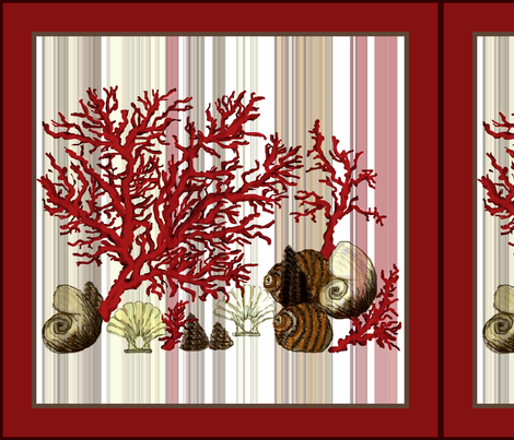 """Red Coral shells 18"""" fabric by paragonstudios on Spoonflower - custom fabric"""