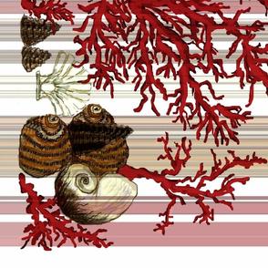 Red Coral Beach Stripe - pillowcase