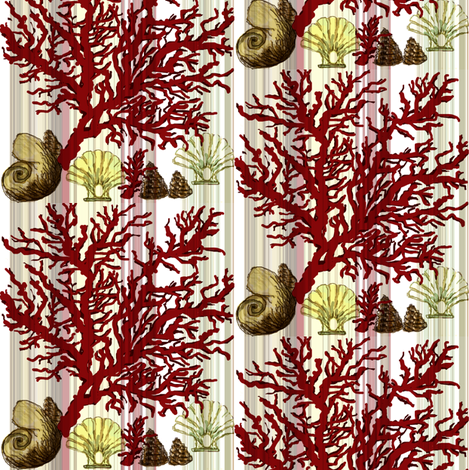 Red Coral and sea shells  fabric by paragonstudios on Spoonflower - custom fabric