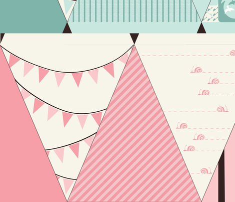 Sweet Tweet Baby: Bunting fabric by ttoz on Spoonflower - custom fabric